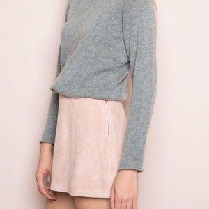 John Galt Dusty Blush Pink Suede Cara Skirt